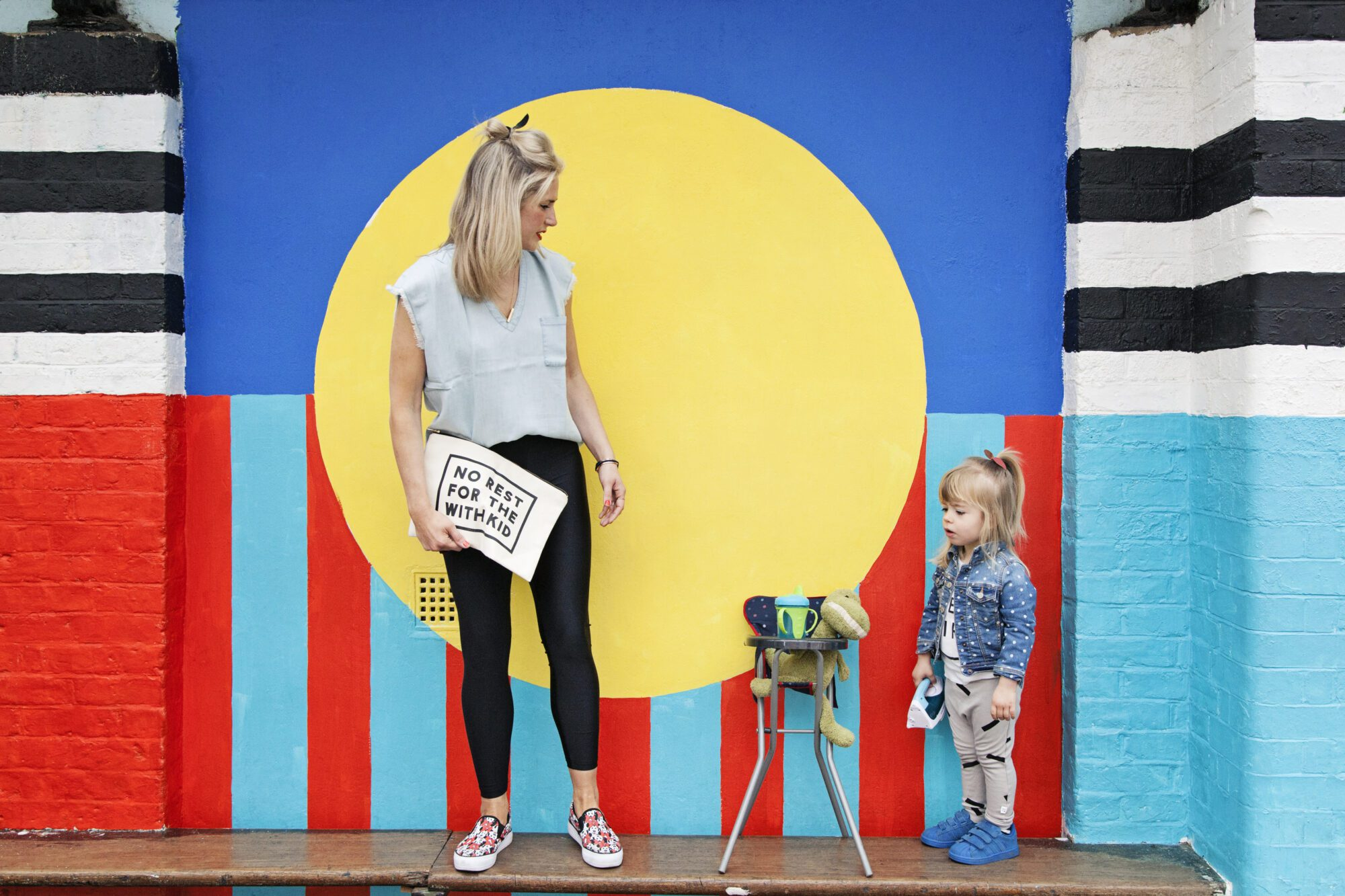 """Anna Whitehouse, aka Mother Pukka, photographed with daughter Mae """"The Urchin"""" in Hackney."""