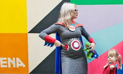 Mother Pukka, Papa Pukka and Mae photographed wearing superhero outfits by Little Dish.
